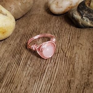 White Jade Stone Rose Gold Wire Wrapped Ring